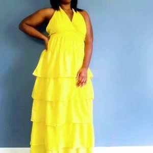 Tiered Halter Top Maxi Dress